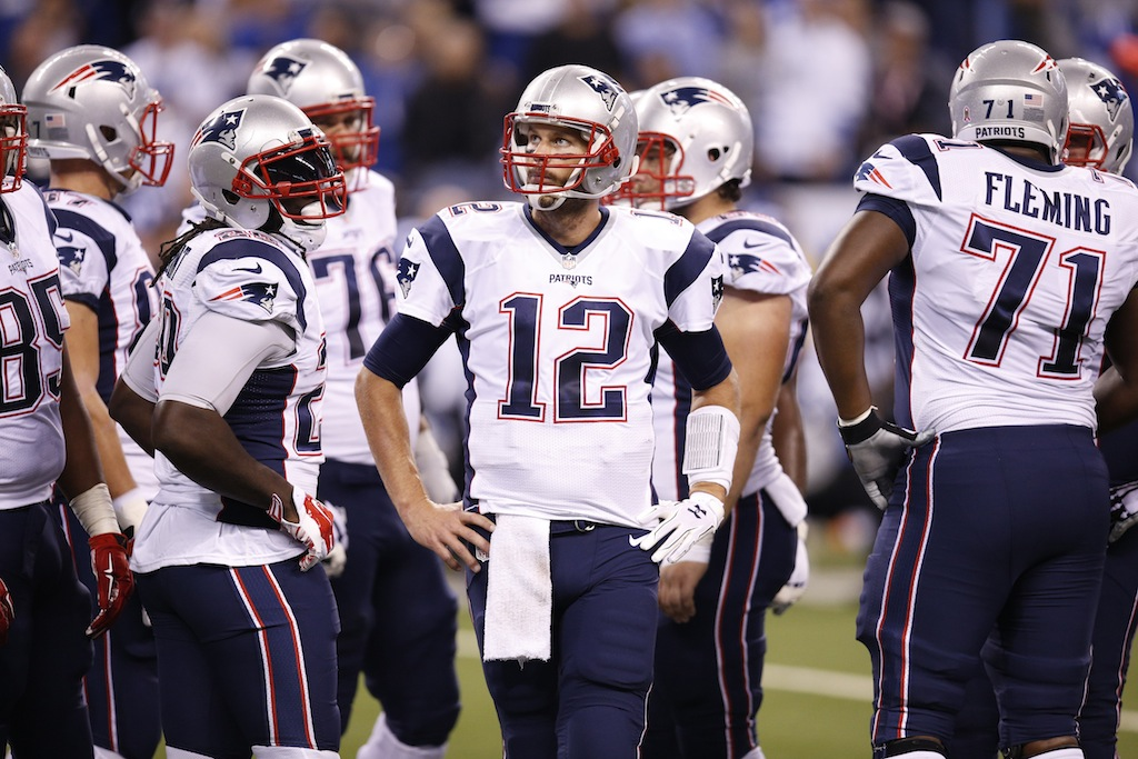 The New England Patriots huddle up