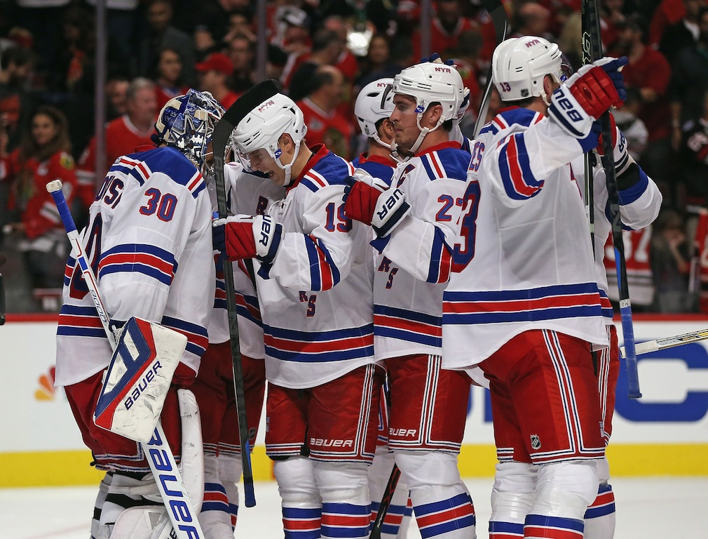 New York Rangers celebrate win