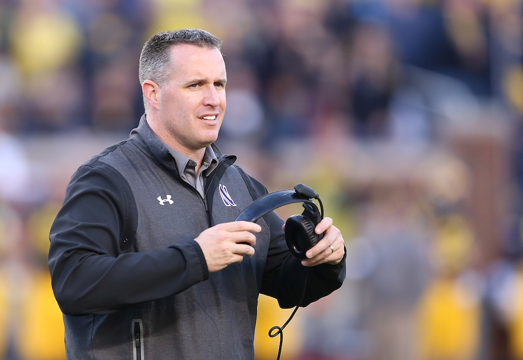 Pat Fitzgerald during the game against Michigan