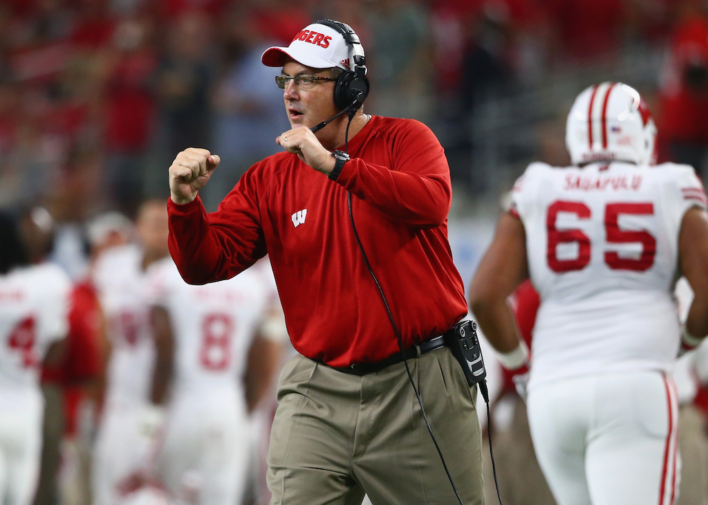 Wisconsin coach Paul Chryst tries to get his team fired up