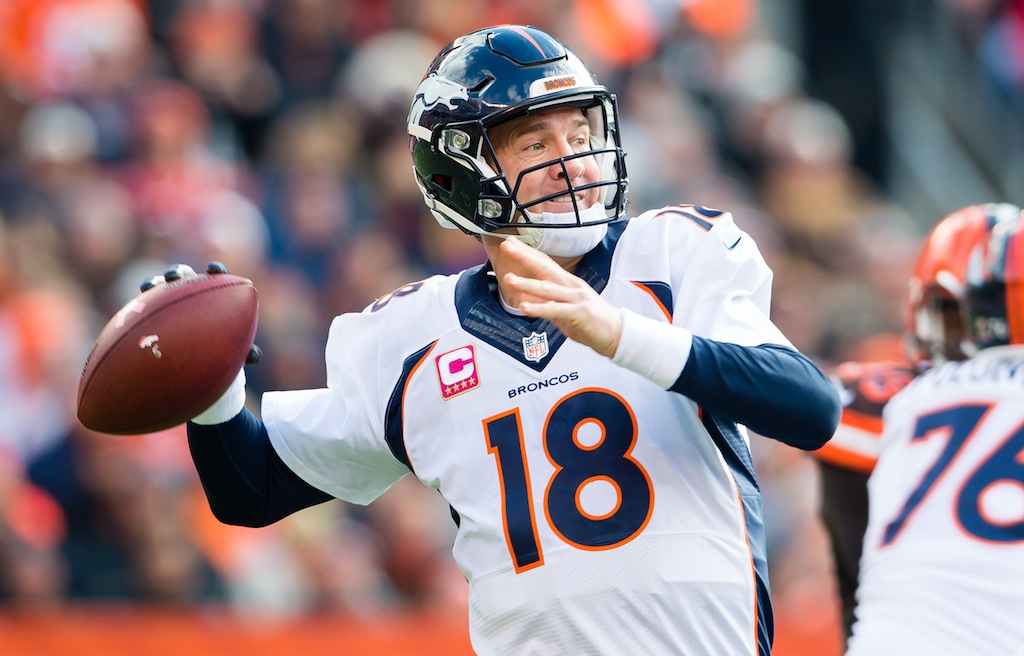 Peyton Manning throws against the Cleveland Browns