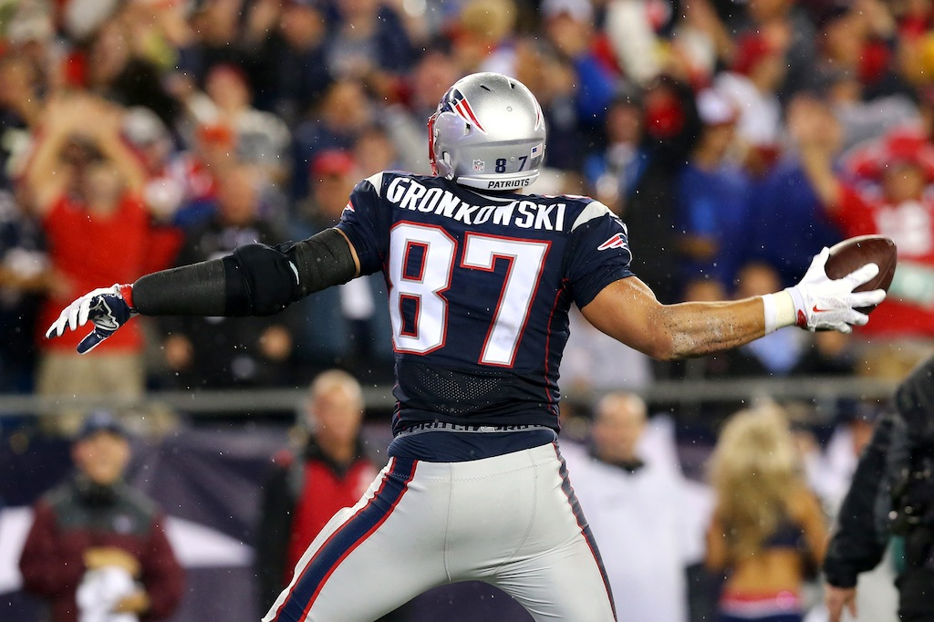Rob Gronkowski spikes the ball after a touchdown