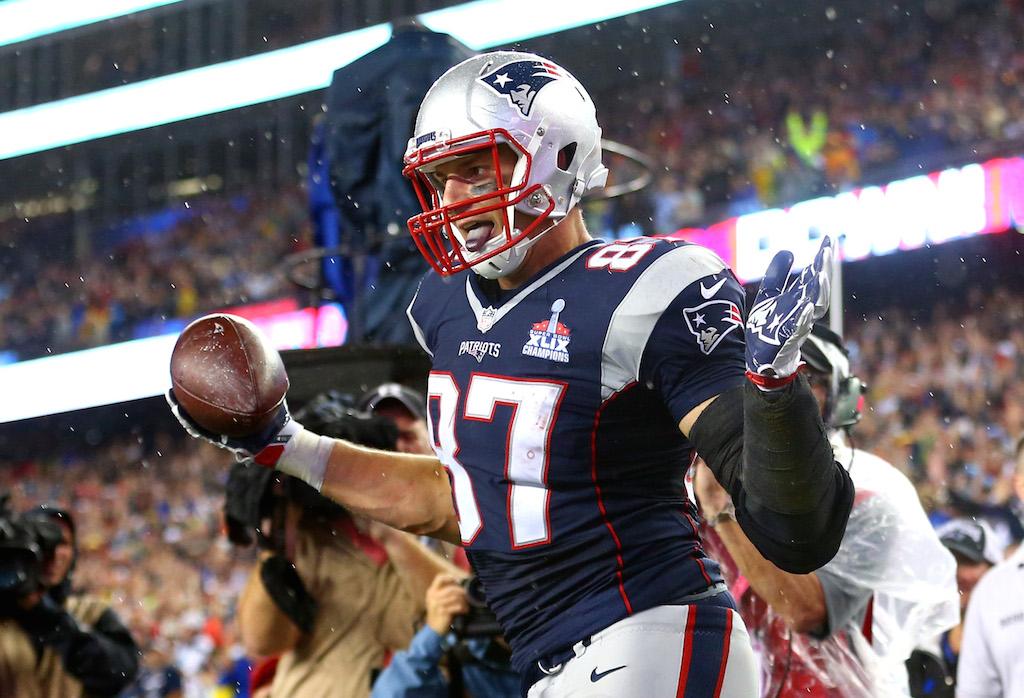 Rob Gronkowski celebrates a touchdown catch