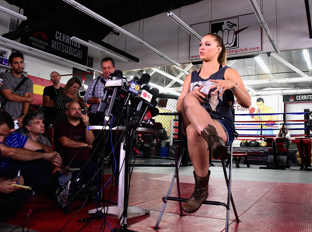 Ronda Rousey Hosts Media Day Ahead 0f The Rousey Vs. Holm Fight at the Glendale Fighting Club on October 27, 2015 in Glendale, California.