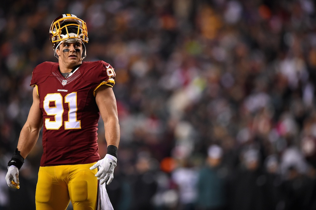 Ryan Kerrigan looks on during a game against the Eagles