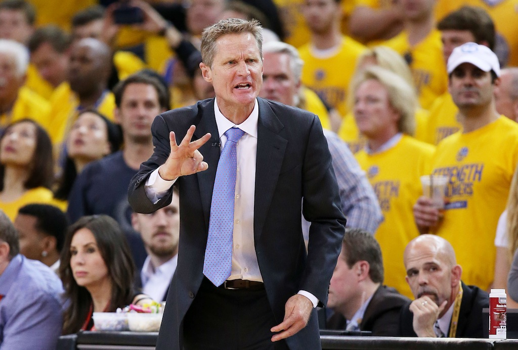 Steve Kerr coaches the Warriors during the NBA Finals