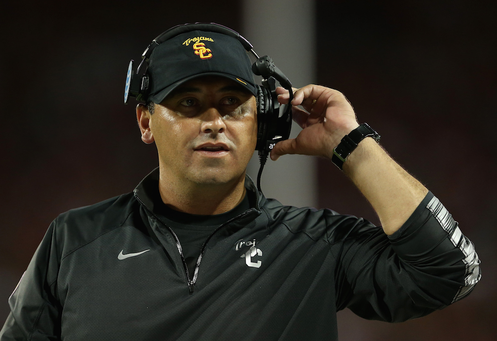 Steve Sarkisian on the sidelines during a game against Arizona
