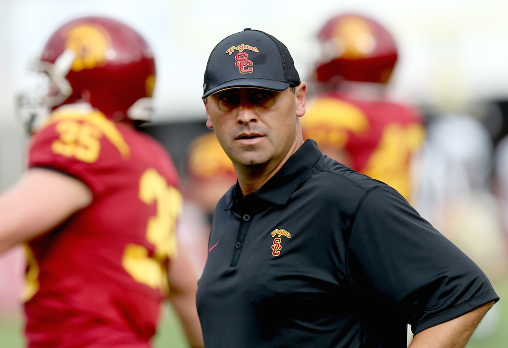 USC coach Steve Sarkisian prior to the start of a game