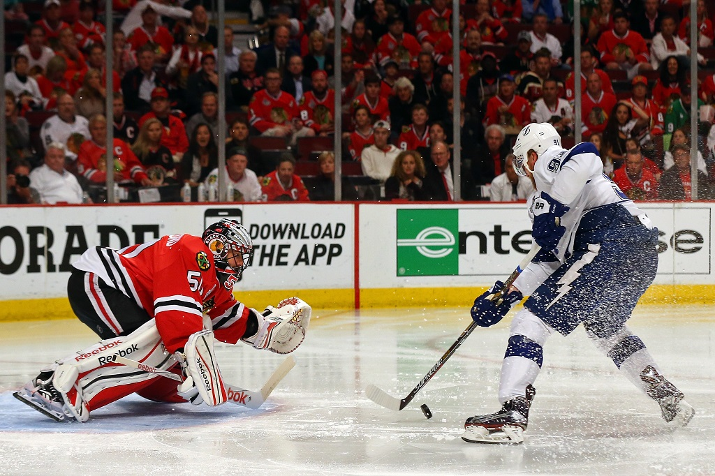 during Game Six of the 2015 NHL Stanley Cup Final at the United Center on June 15, 2015 in Chicago, Illinois.