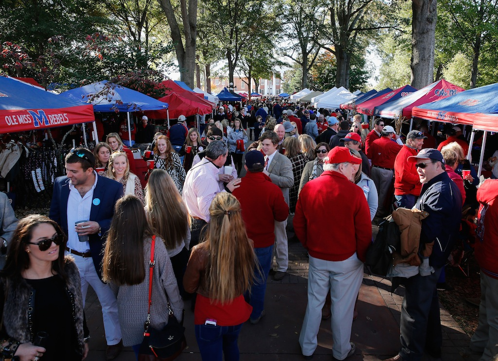 Ole Miss fans tailgate at the Grove.