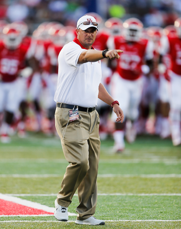 Tom Herman during warmups before a game against Tennessee Tech