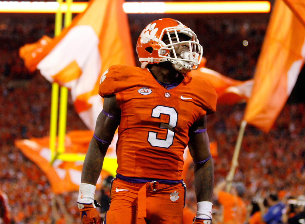 Tyler Smith/Getty Images Artavis Scott #3 of the Clemson Tigers celebrates after the Tigers scored