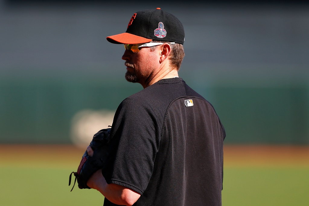 SAN FRANCISCO, CA - OCTOBER 24:  Aubrey Huff #17 of the San Francisco Giants looks on during batting practice against the Detroit Tigers during Game One of the Major League Baseball World Series at AT&T Park on October 24, 2012 in San Francisco, California.