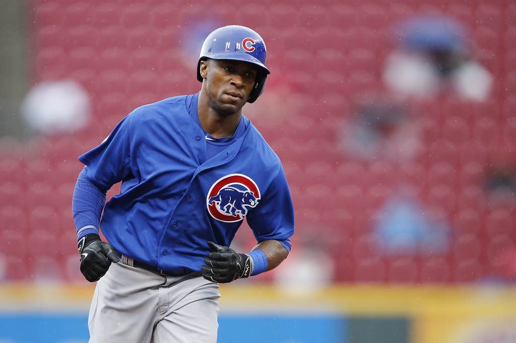 CINCINNATI, OH - OCTOBER 1: Austin Jackson #27 of the Chicago Cubs rounds the bases after hitting a three-run home run against the Cincinnati Reds in the third inning at Great American Ball Park on October 1, 2015 in Cincinnati, Ohio