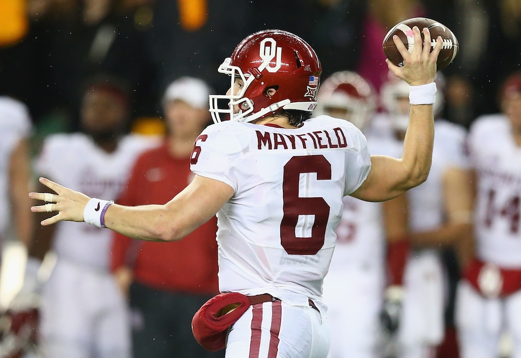 Baker Mayfield throws against Baylor