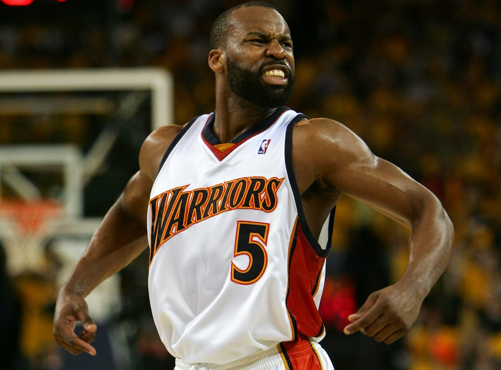Baron Davis celebrates during the 2007 playoffs