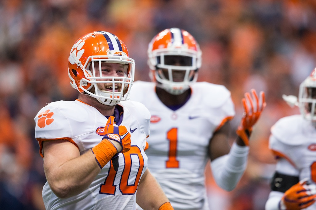 Ben Boulware celebrates a fumble recovery for Clemson
