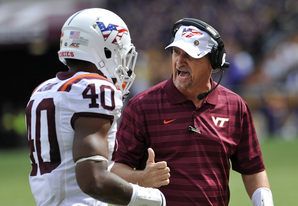 Virginia Tech defensive coordinator Bud Foster giving instructions