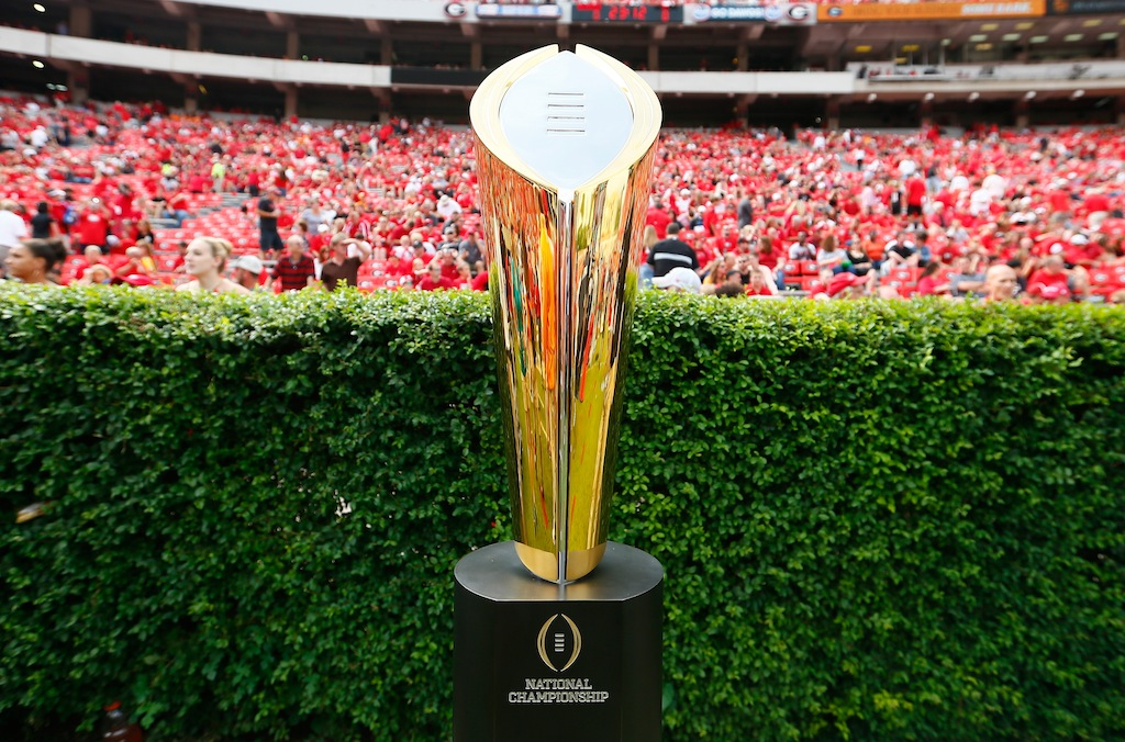 College Football Playoff trophy on display