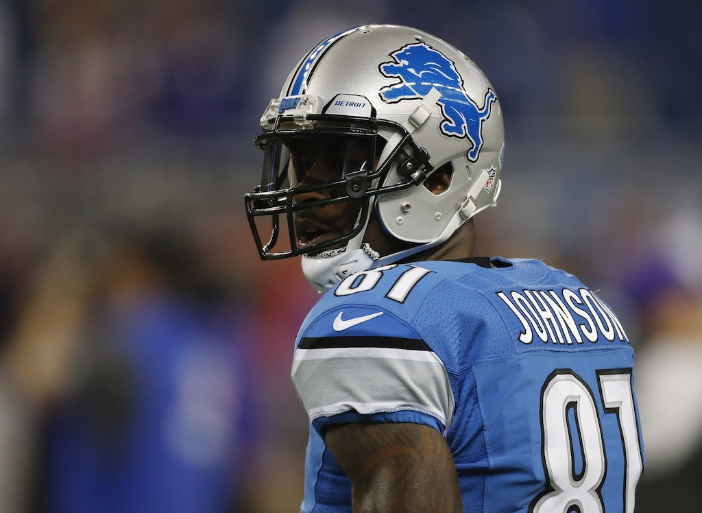 Calvin Johnson before a game against the Vikings