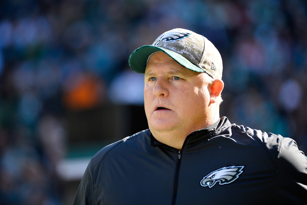 Chip Kelly looks on during a game against the Dolphins
