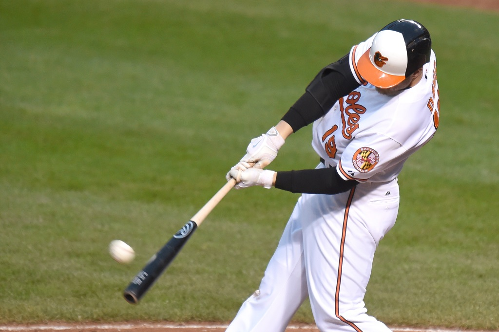 Chris Davis connects with a pitch