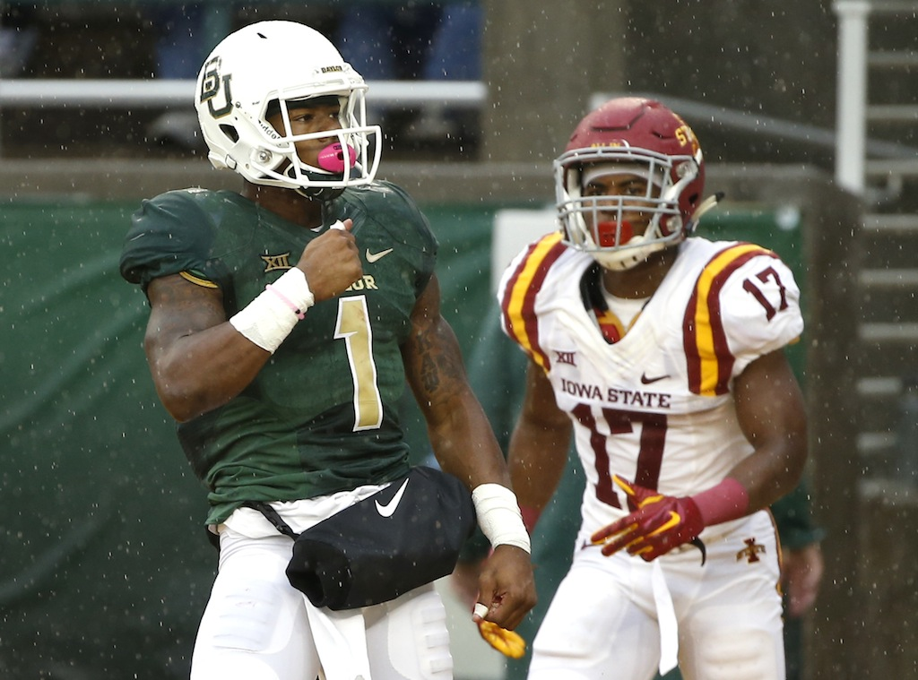 Corey Coleman celebrates a touchdown catch against Iowa State