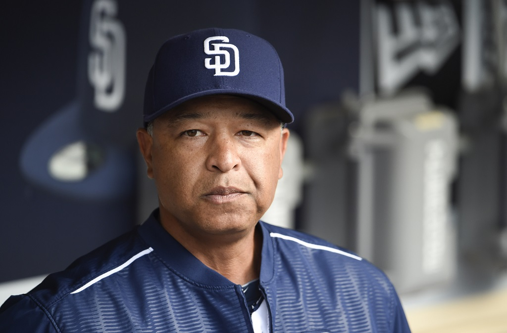 SAN DIEGO, CA - JUNE 15:  Interim manager Dave Roberts #8 of the San Diego Padres looks on before a baseball game against the Oakland Athletics at Petco Park June 15, 2015 in San Diego, California.