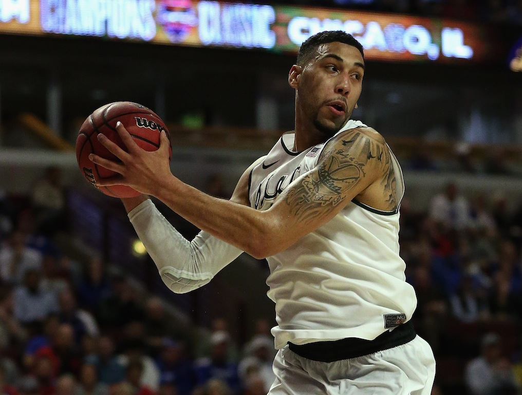 Denzel Valentine grabs a rebound for Michigan State