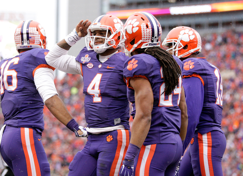 DeShaun Watson #4 salutes the crowd after a Clemson score