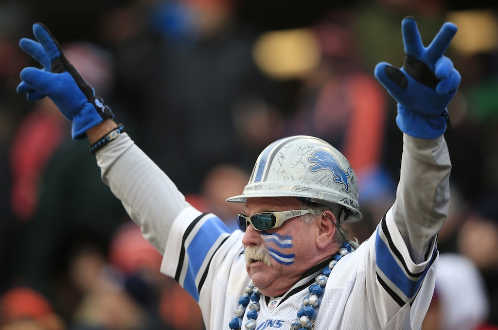 Detroit Lions fan cheers on his team