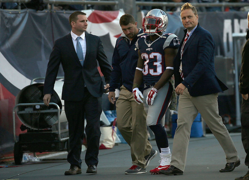 Dion Lewis leaves the field after being injured