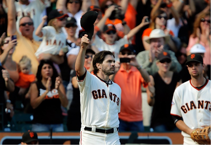 Pitcher Barry Zito of the San Francisco Giants gets a standing ovation as he leaves the field in the eighth inning