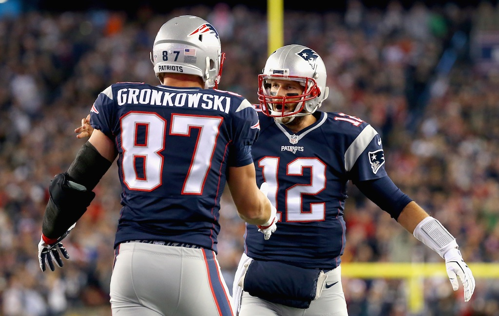 Rob Gronkowski and Tom Brady celebrate a touchdown