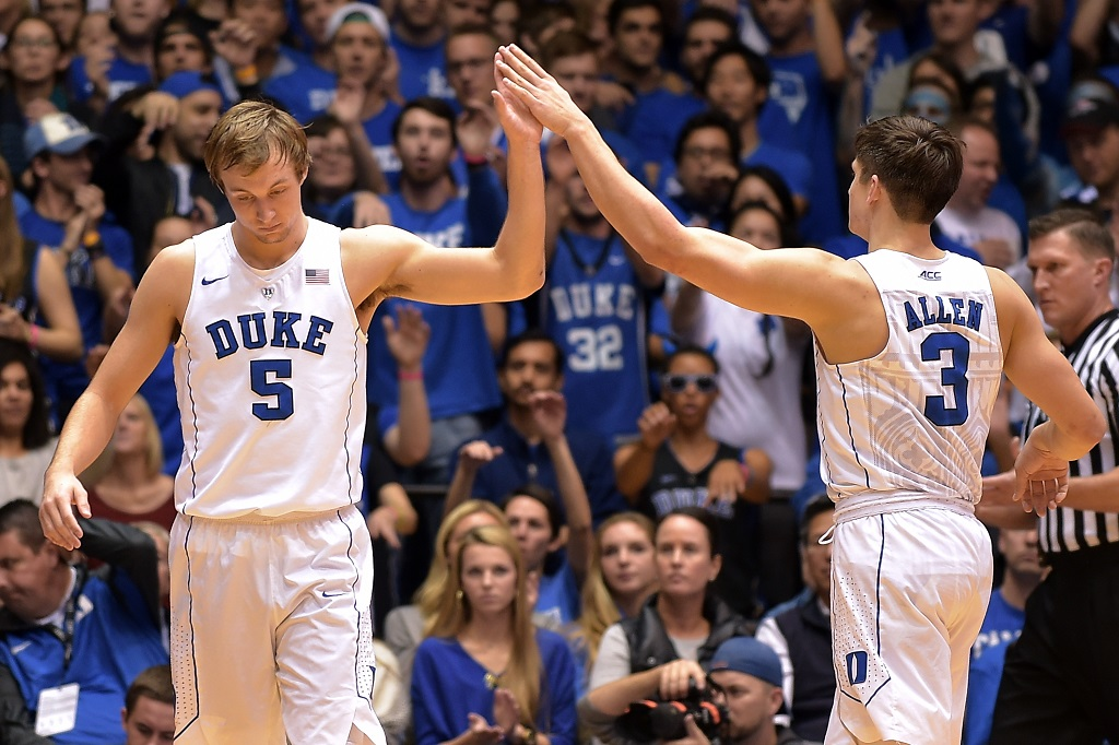 DURHAM, NC - NOVEMBER 14: Luke Kennard #5 high-fives Grayson Allen #3 of the Duke Blue Devils following a play against the Bryant Bulldogs at Cameron Indoor Stadium on November 14, 2015 in Durham, North Carolina.