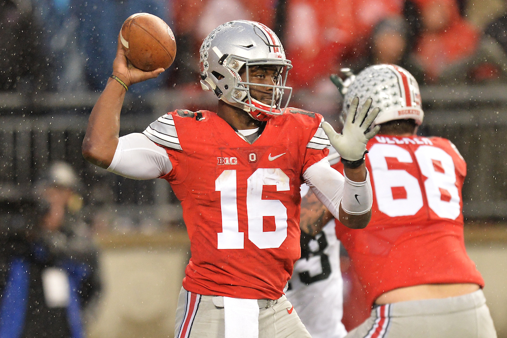 J.T. Barrett throws against Michigan State