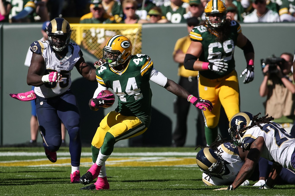 GREEN BAY, WI - OCTOBER 11:  James Starks #44 of the Green Bay Packers carries the football against the St. Louis Rams in the third quarter at Lambeau Field on October 11, 2015 in Green Bay, Wisconsin.