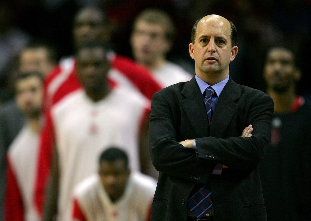 Jeff Van Gundy during his coaching days with the Rockets