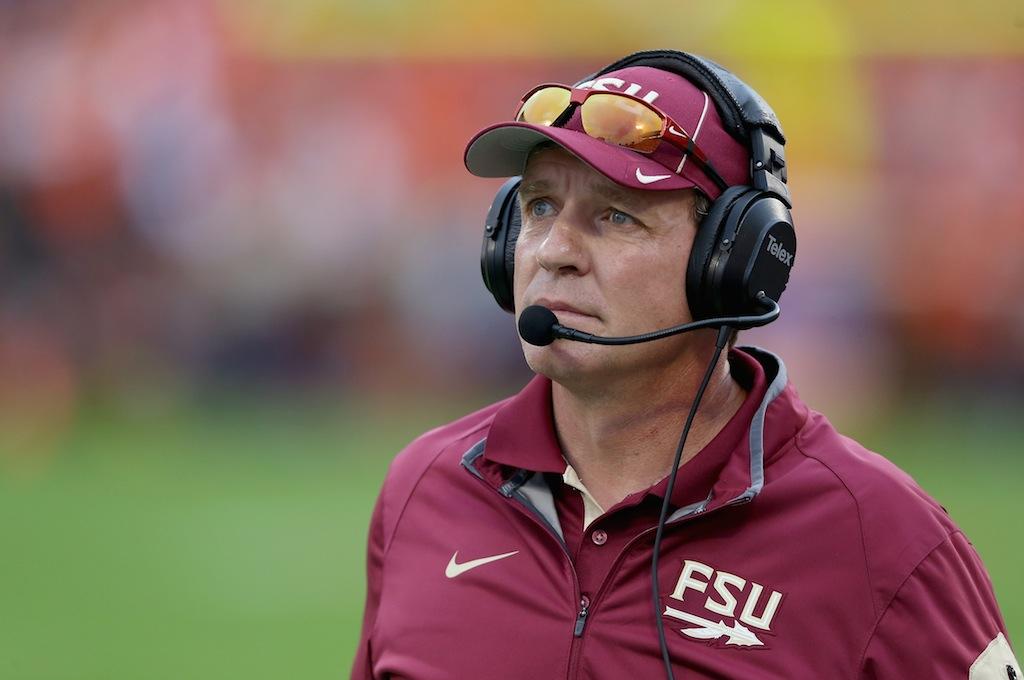 Jimbo Fisher coaches Florida State against Clemson