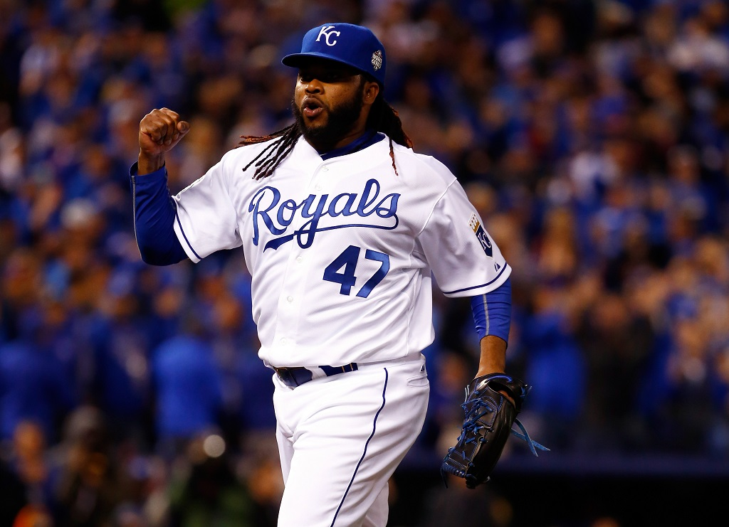in Game Two of the 2015 World Series at Kauffman Stadium on October 28, 2015 in Kansas City, Missouri.