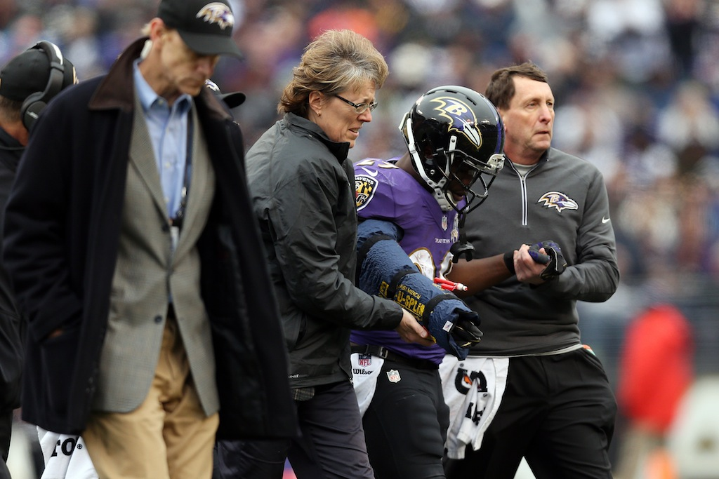 Justin Forsett is helped off the field