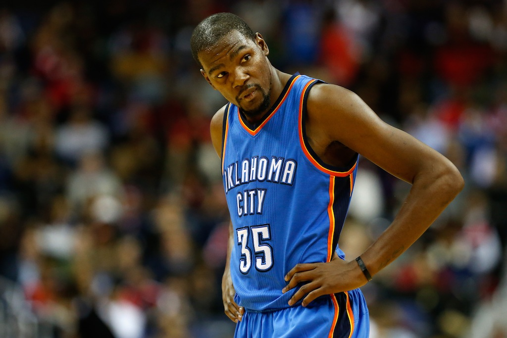 Kevin Durant looks on during a game against the Wizards