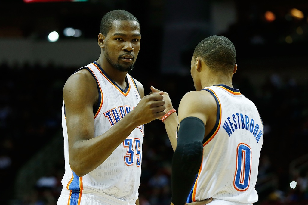 Kevin Durant congratulates his former teammate Russell Westbrook | Scott Halleran/Getty Images