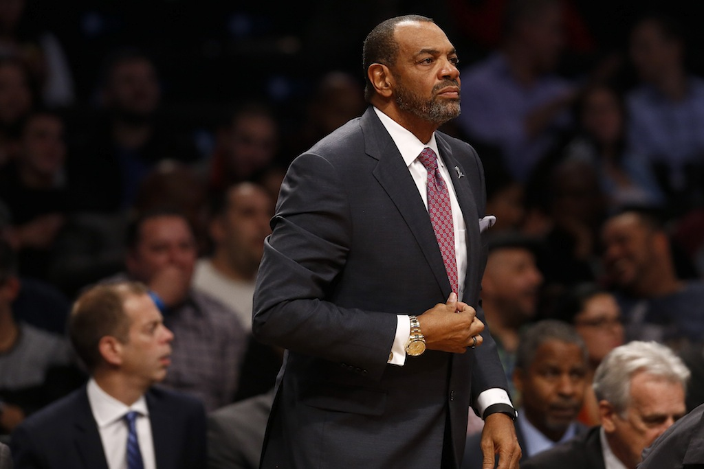 Nets coach Lionel Hollins looks on during a game against the Bulls