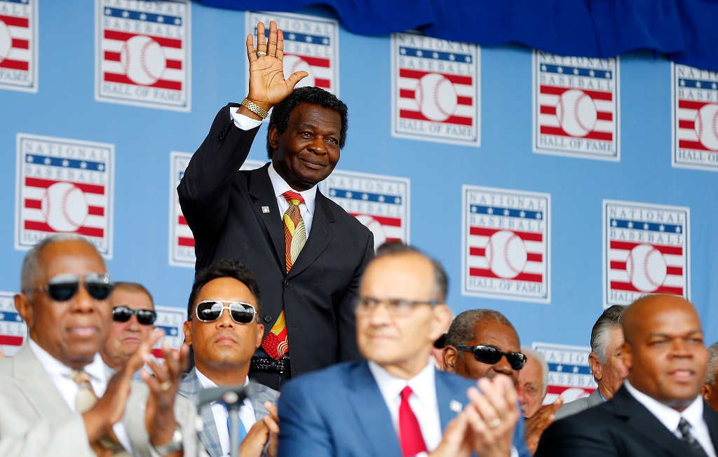 COOPERSTOWN, NY - JULY 27:  Hall of Famer Lou Brock is introduced during the Baseball Hall of Fame induction ceremony at Clark Sports Center on July 27, 2014 in Cooperstown, New York