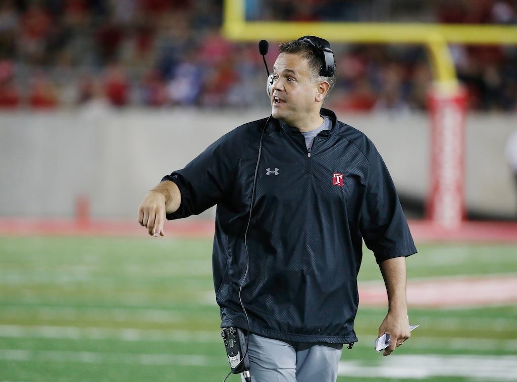 Temple coach Matt Rhule walks the sidelines