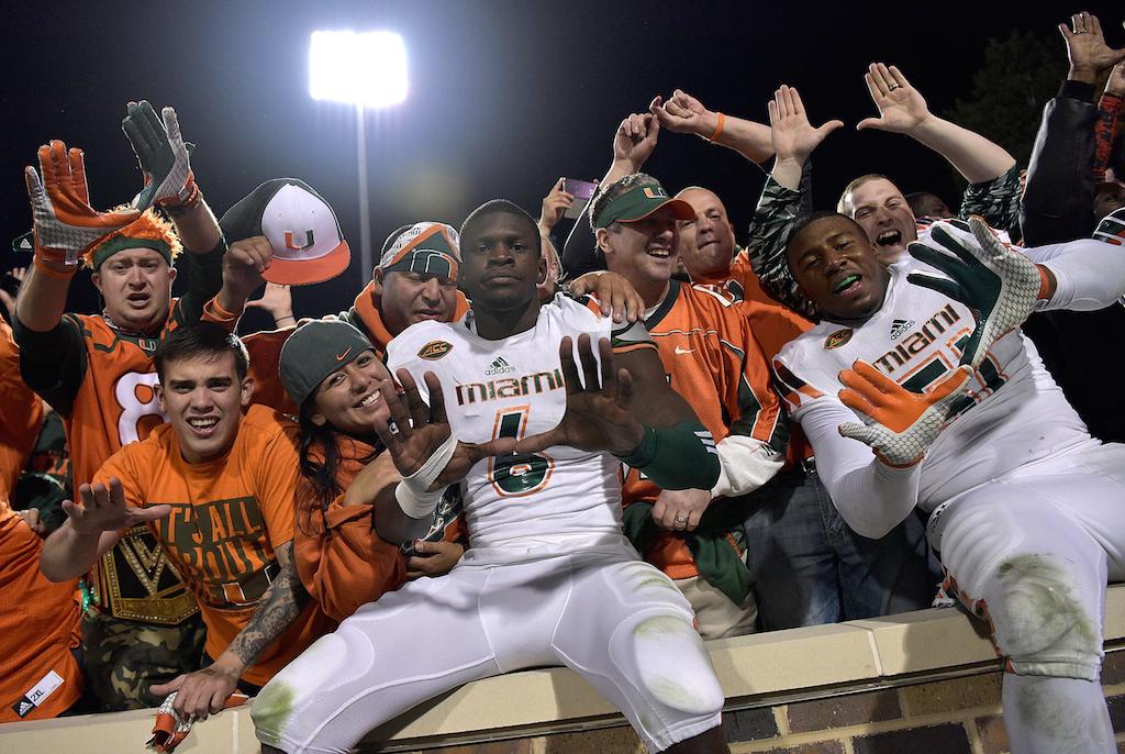 Miami Hurricanes celebrate their improbable victory