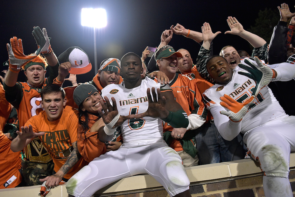 Miami Hurricanes celebrate their improbable victory
