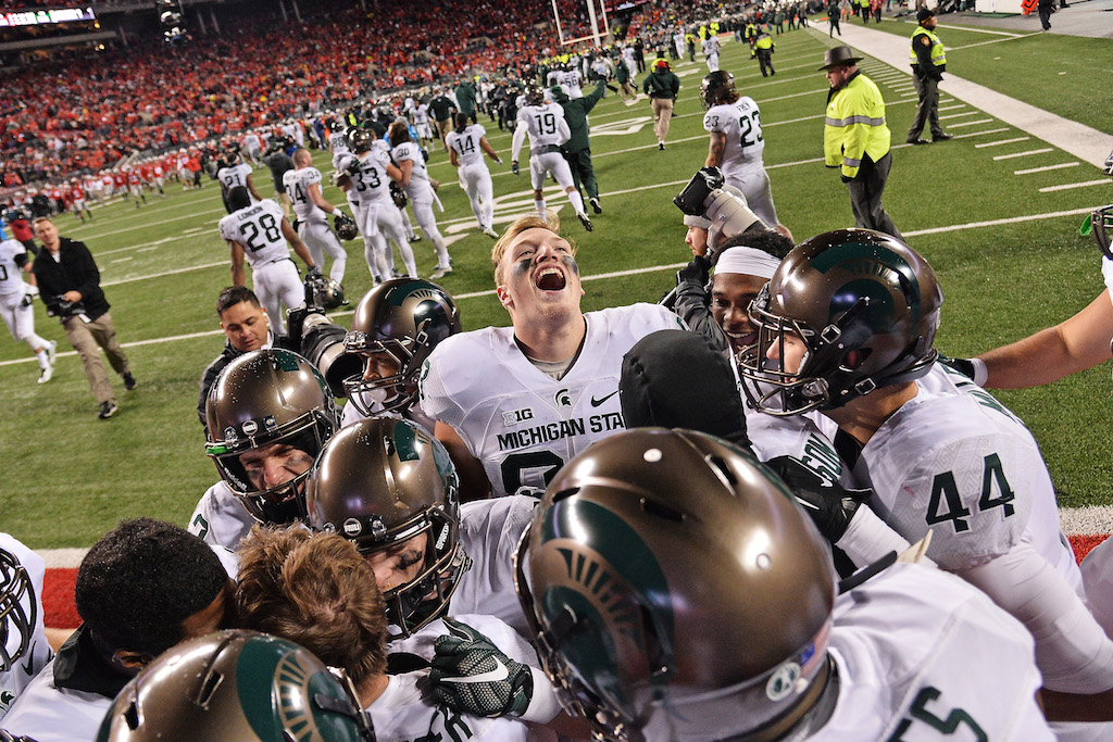 Michigan State celebrate a win over Ohio State