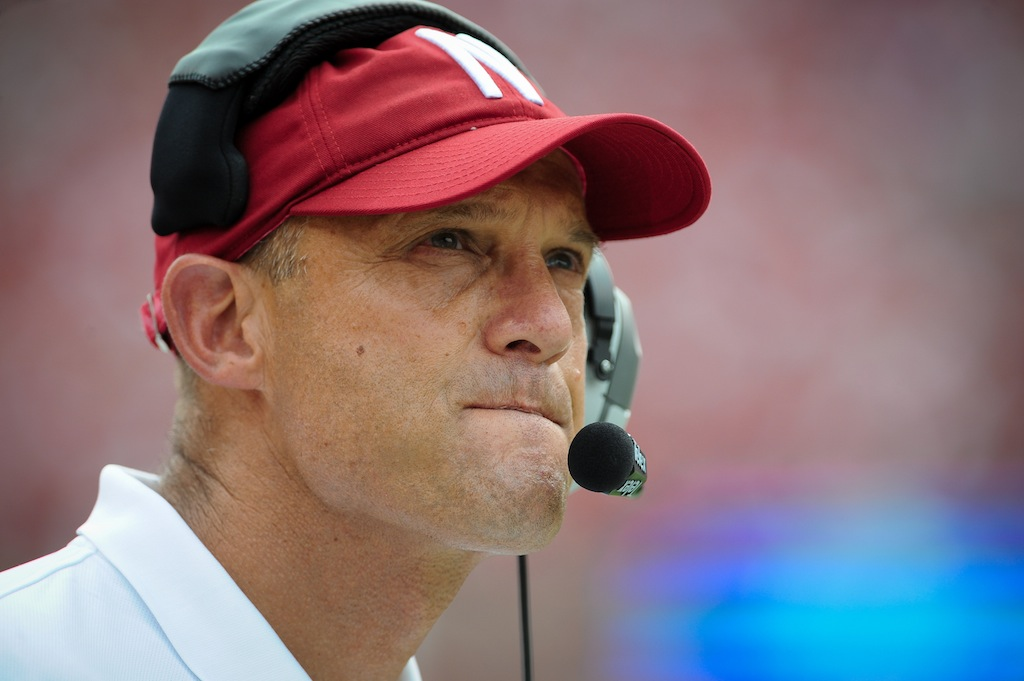 Coach Mike Riley on the sidelines for Nebraska